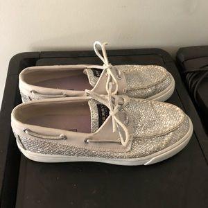 Silver sparkle glitter Sperrys